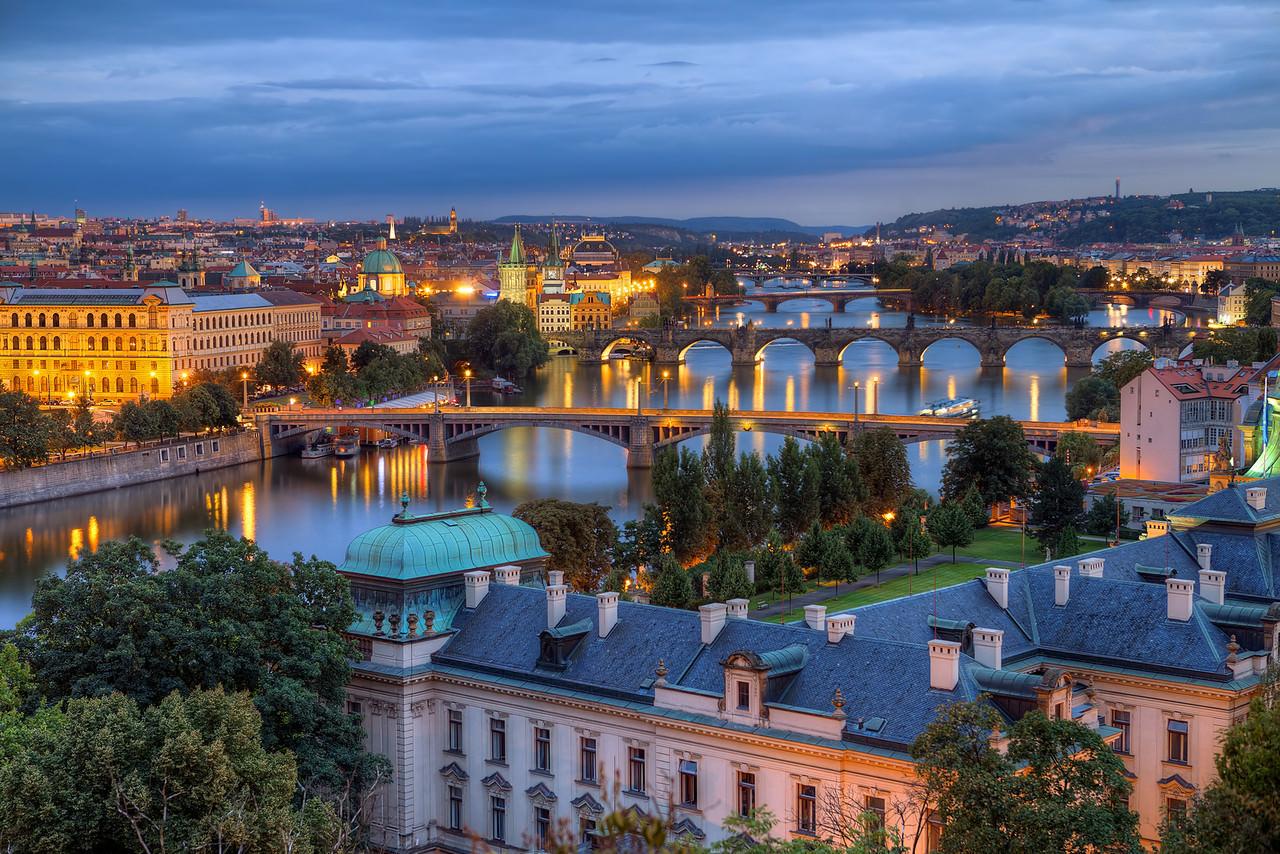 Prague, Czech Republic at sunset